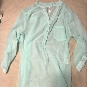 Mint green sheer top